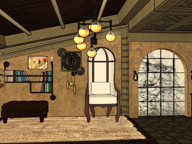 Steampunk style room oranas13
